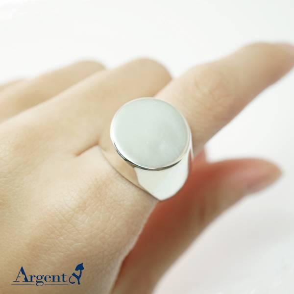 印章戒(圓形.特寬版)純銀戒指|925銀飾戒指推薦 可加購刻字 印章冠軍戒指