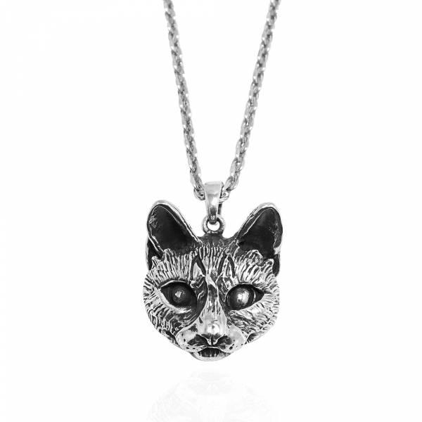 寫實貓-大-虎斑貓(斑斑)-半立體(染黑/無染黑)造型動物純銀項鍊銀飾|安爵貓系列