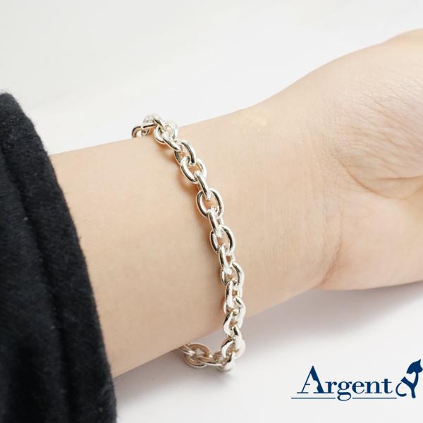 純銀單手鍊-6.5mm-「橢圓鍊」純銀手鍊|925純銀單手鍊(單條價) 純銀手鍊