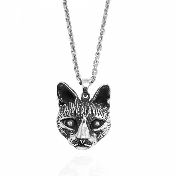 寫實貓-大-虎斑貓(小虎)-半立體(染黑/無染黑)造型動物純銀項鍊銀飾|安爵貓系列