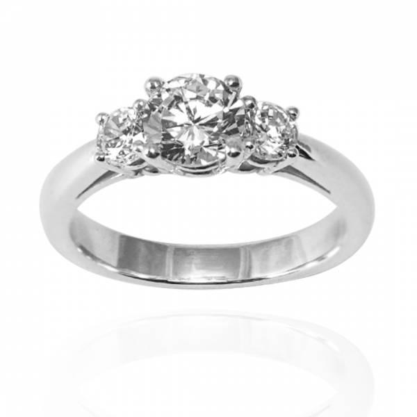 「閃耀(大鑽/小鑽)」造型白鑽鑲嵌純銀戒指|戒指推薦(單只價) 求婚戒指
