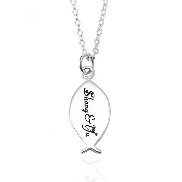 小銀魚(含單面刻字)可愛造型純銀項鍊銀飾|銀項鍊推薦 魚項鍊