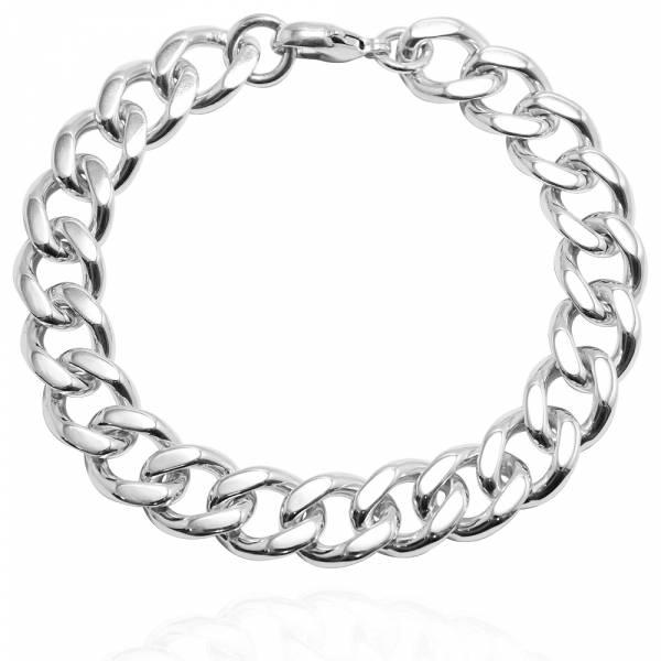 純銀單手鍊-「扁鍊(11.5mm)(問號叩頭)」復古馬鞭鍊-經典系列純銀手鍊|925銀飾 古巴鏈