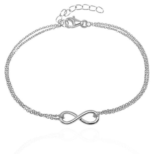 「無限(雙鍊)」立體造型純銀手鍊銀飾|銀手鍊推薦 無限手鍊