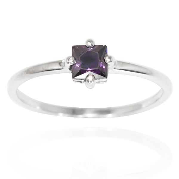 正方彩鑽(2色)鑲崁純銀戒指|戒指推薦 紫水晶