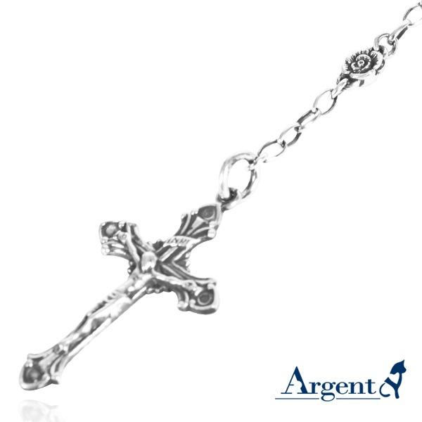 玫瑰古典十字INRI純銀項鍊銀飾|銀項鍊推薦 銀項鍊推薦