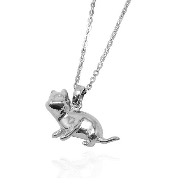 貓咪咕嚕姿勢-神探-半立體造型動物純銀項鍊銀飾-剪影立體造型 貓剪影項鍊