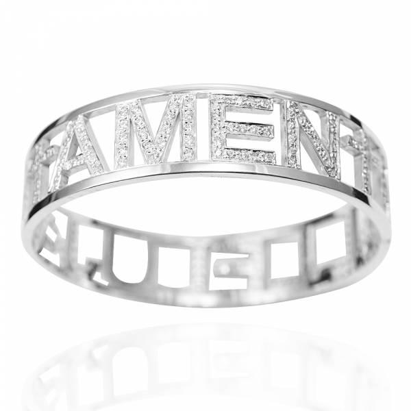 滿鑽英文密碼(正楷)(15mm)純銀手環|客製化手環 訂做手環