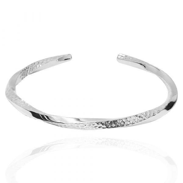 4mm「扭紋烙印」C開口手工製作純銀手環|925銀飾(單只價)