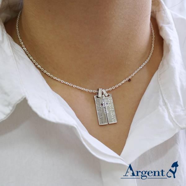 天生伴侶情人純銀對鍊|情侶對鍊推薦(一對價)拼起來中間是十字架 對鍊推薦