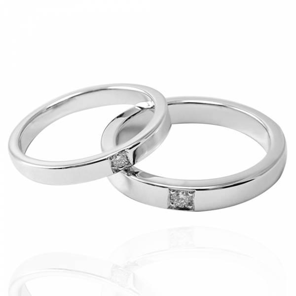 對戒-「永恆(寬5分鑽+細3分鑽)」14K/18K 培育真鑽-鑲鑽簡約設計14/18K金情人戒指|求婚戒指推薦(一對價) 婚戒推薦