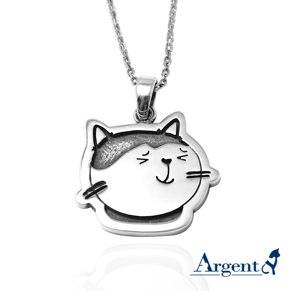 乳牛貓(點點)(染黑/琺瑯)平面造型動物純銀項鍊銀飾|安爵貓系列銀項鍊推薦 貓項鍊