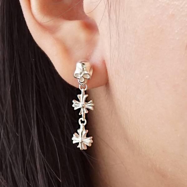 垂吊骷髏十字造型(不對稱)純銀耳環推薦|925銀飾  視覺系