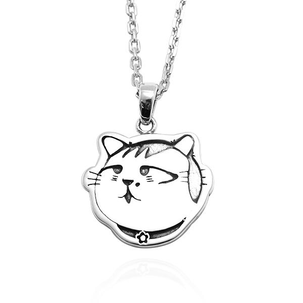 小花貓(小花)(染黑)平面造型動物純銀項鍊銀飾|安爵貓系列銀項鍊推薦 貓項鍊
