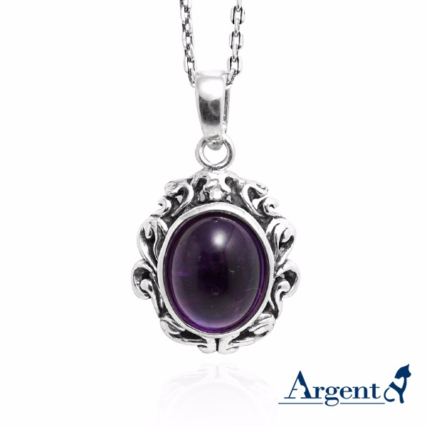 寶石項鍊「復古寶鏡」天然寶石純銀項鍊銀飾|銀項鍊推薦 銀項鍊推薦
