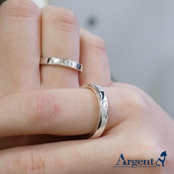 對戒-「永恆(寬+細)+指紋」鑲鑽簡約設計純銀情人戒指|求婚戒指推薦(一對價)(單只含一個指紋.若要刻字另計) 婚戒推薦