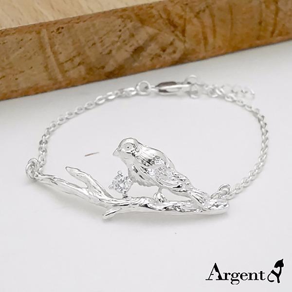 「枝头小鸟」造型立体纯银手链|925银饰 纯银手链