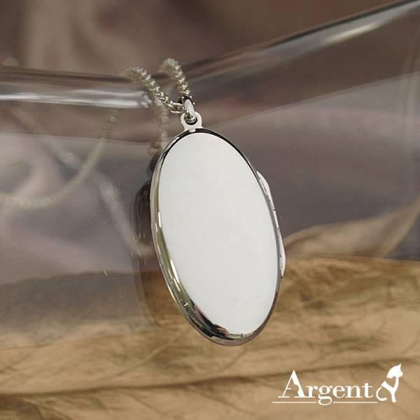 橢圓鏡面(大.平)純銀項鍊銀飾(可代印放入照片)可加購刻字 相片框項鍊