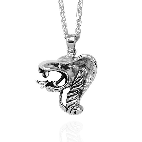 12生肖-蛇-造型雕刻純銀項鍊|正面立體後面平面可加購刻字 12生肖銀項鍊推薦