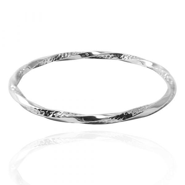 「扭紋烙印(粗)」無開口手工製作純銀手環|925銀飾(單只價) 手工銀鐲