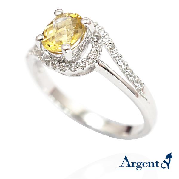 彩晶曲線天然寶石純銀戒指(白K金)|戒指推薦 天然寶石戒指