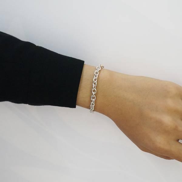 純銀單手鍊-5mm-「橢圓鍊」純銀手鍊(20公分)|925純銀單手鍊(單條價) 純銀手鍊