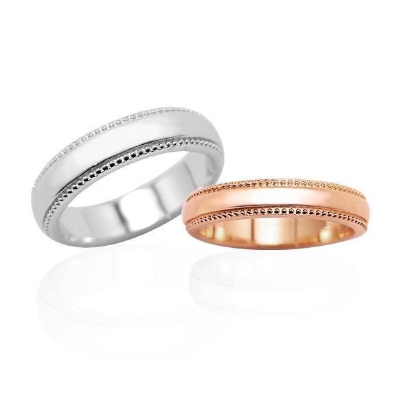 「浪漫滾珠(5mm)14K金(單色白K金)+(4mm)14K金(單色玫瑰金)」訂婚結婚戒指推薦(一對價) 訂婚戒指推薦