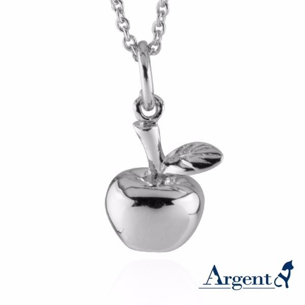小蘋果可愛造型純銀項鍊銀飾|銀項鍊推薦(4色選1) 銀項鍊推薦