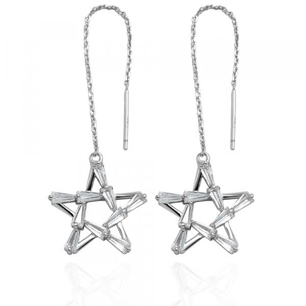 五芒星-造型純銀耳環推薦|925銀飾 五芒星