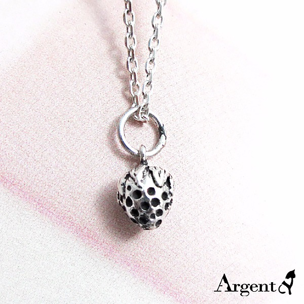 小草莓可愛造型純銀項鍊銀飾 銀項鍊推薦 銀項鍊推薦