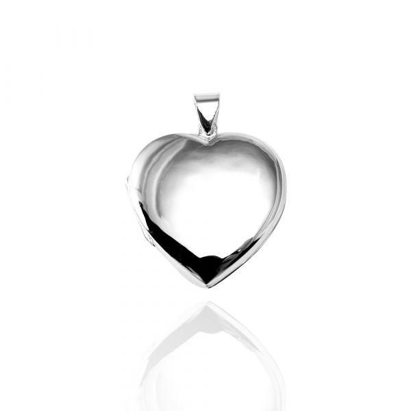 潘朵拉-愛心鏡面(大/平)鏡面純銀項鍊銀飾|客製化項鍊(可代印放照片.可加購刻字)潘朵拉放照片系列 照片項鍊
