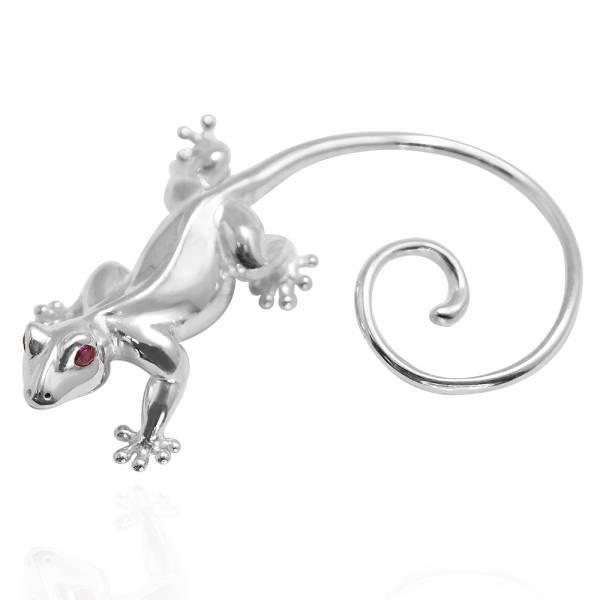 愛心壁虎(單隻)-耳掛造型純銀耳環推薦|925銀飾 可做擺飾品 壁虎愛情