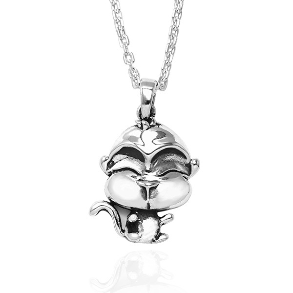 12生肖-猴-造型雕刻純銀項鍊|正面立體後面平面可加購刻字 12生肖銀項鍊推薦