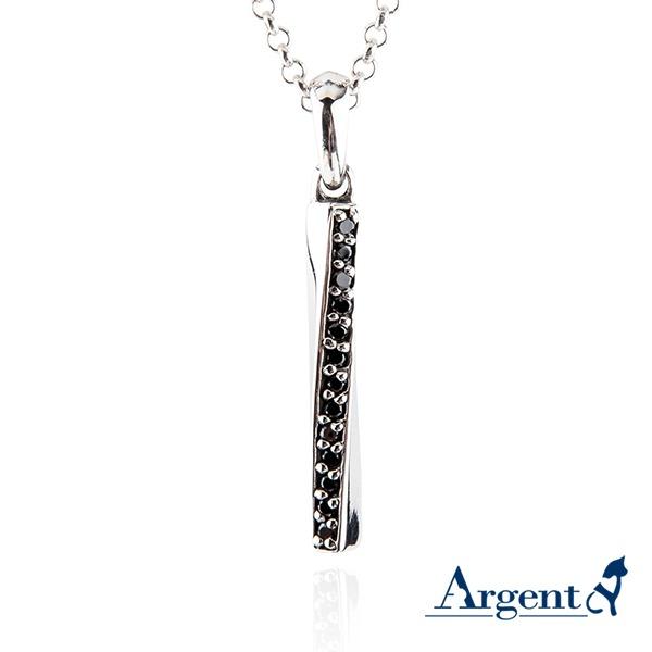 黑鑽旋轉愛戀造型純銀項鍊銀飾 銀項鍊推薦 銀項鍊推薦