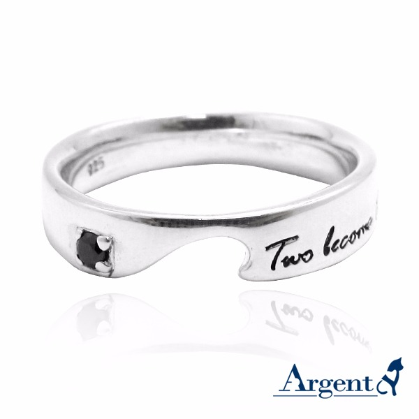 「天生一對(黑鑽/白鑽)」純銀戒指|男女戒拼起來是愛心(單只價) 銀戒