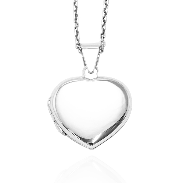 愛心(.平)鏡面純銀項鍊銀飾(可代印放入照片)可加購刻字 相片框項鍊
