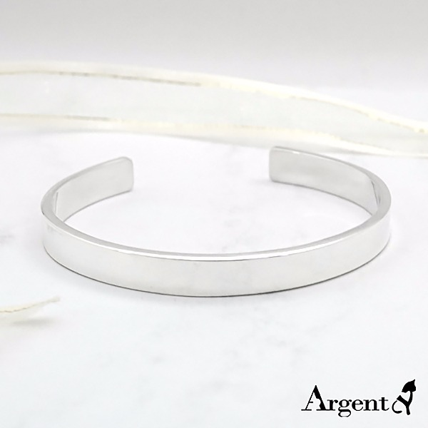 8mm「簡約(無刻字)」純銀手環|純銀(可加購刻字)手鐲 客製化手環