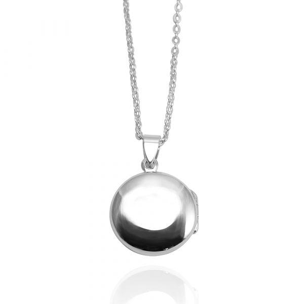 圓型鏡面(中.平)純銀項鍊銀飾|客製化項鍊(可代印放照片.可加購刻字) 相片項鍊