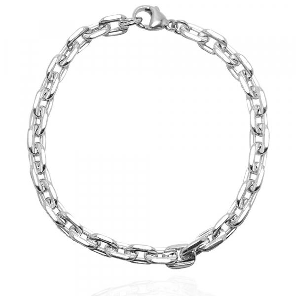 純銀單手鍊-6.5mm-方格鍊(粗)-純銀手鍊|925銀飾(單條價) 純銀手鍊