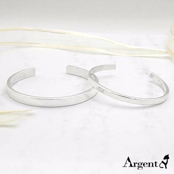 簡約純銀情人手環(4mm/+6mm)|情人節手飾(一對價) 情人對手環