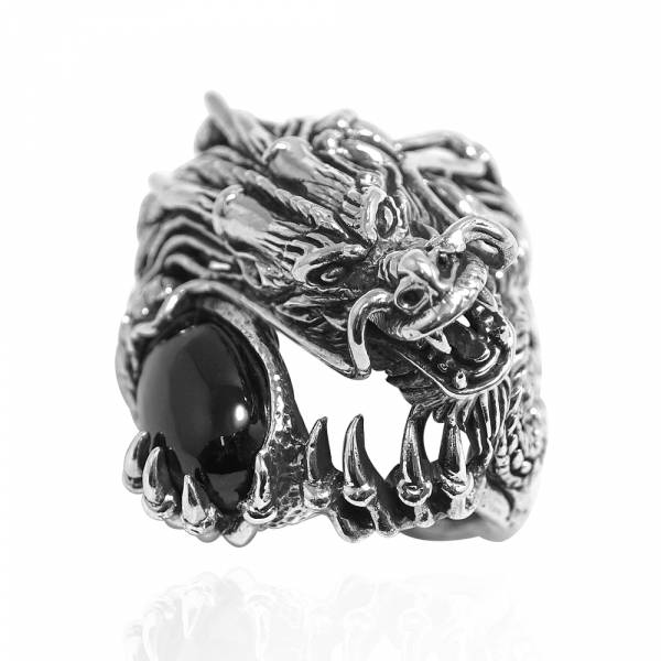 龍族擁珠動物造型雕刻純銀戒指|戒指推薦 純銀動物戒指