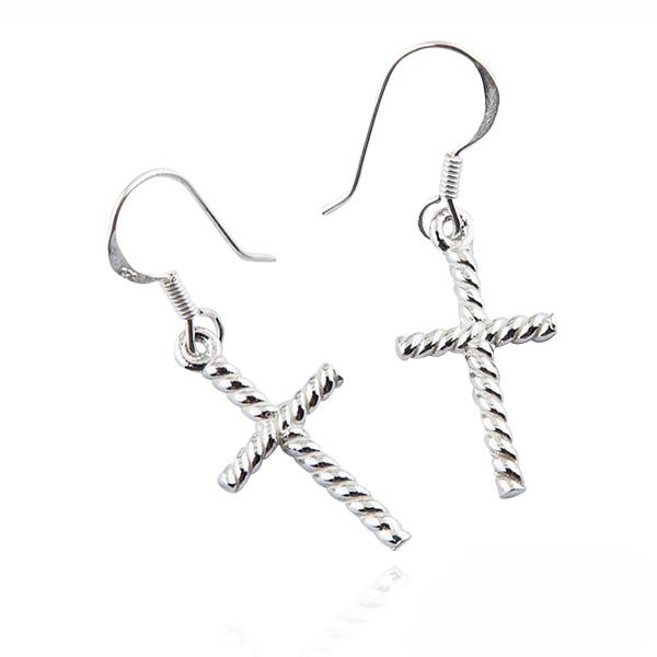 紋十字造型耳勾純銀耳環推薦|925銀飾 純銀耳環推薦