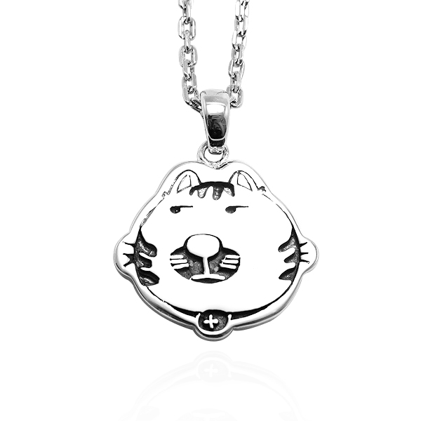 虎斑貓(小虎)(染黑)平面造型動物純銀項鍊銀飾|安爵貓系列銀項鍊推薦 貓項鍊