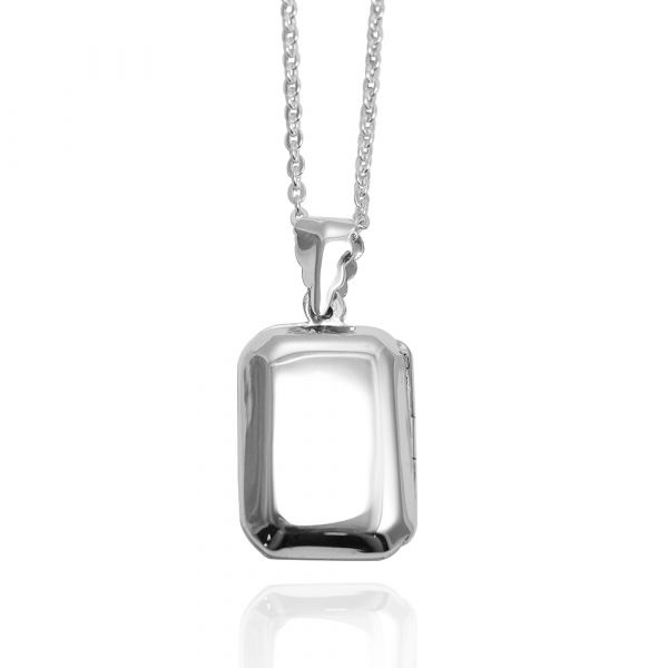 立體方塊-方型鏡面(中.平)純銀項鍊銀飾|客製化項鍊(可代印放照片.可加購刻字)潘朵拉放照片系列 相片項鍊