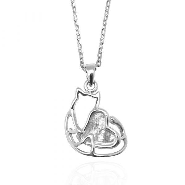 線條貓系列-擁愛-純銀項鍊銀飾|銀項鍊推薦 貓咪項鍊