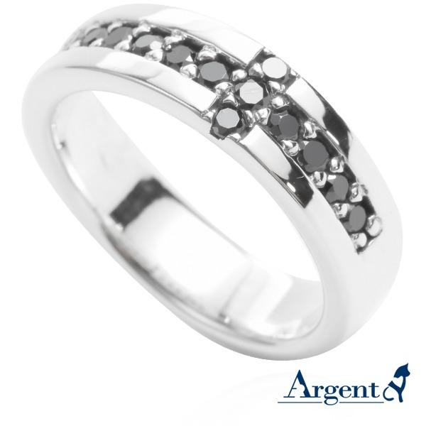 「十字相戀(黑鑽/白鑽)」造型純銀戒指|戒指推薦(單只價) 戒指推薦