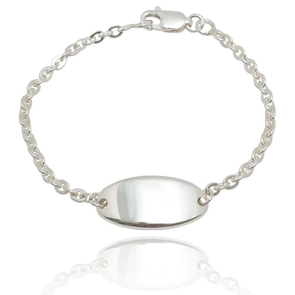 「迷你椭圆」弧面雷射刻字客制化手链|925银饰 纯银手链
