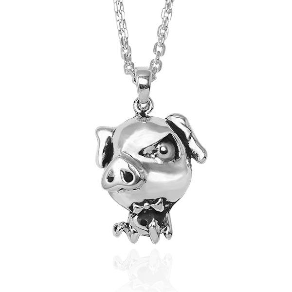 12生肖-豬-造型雕刻純銀項鍊|正面立體後面平面可加購刻字 12生肖銀項鍊推薦