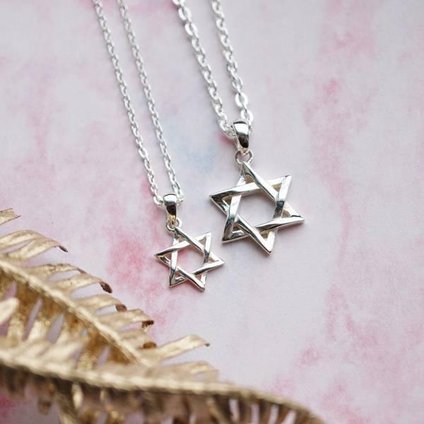 「六芒星(大+小)」情人純銀對鍊銀飾|情侶對鍊推薦(一對價)