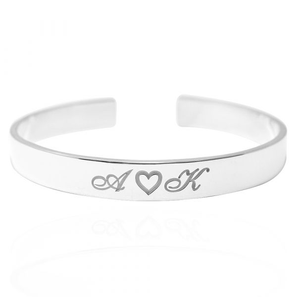 刻字手環|客製化訂做-10mm簡約刻字純銀手環 手環刻字